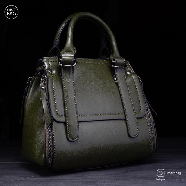 Классическая женская кожаная сумка | зеленая