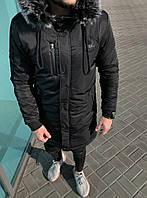 Очень теплая мужская длинная зимняя куртка с капюшоном с опушкой (Турция) черная - размер 2XL