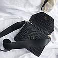 Сумка клатч фактура крокодил з широким плечовим ремінцем #0485-К Чорний, фото 5