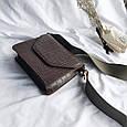 Сумка клатч фактура крокодил з широким плечовим ремінцем #0485-К Чорний, фото 2