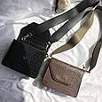 Сумка клатч фактура крокодил з широким плечовим ремінцем #0485-К Чорний, фото 7