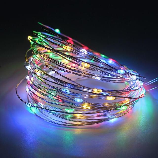 Гирлянда светодиодная нить Роса, Капли росы на проволоке 5 м, 50 LED на батарейках, мульти цвет