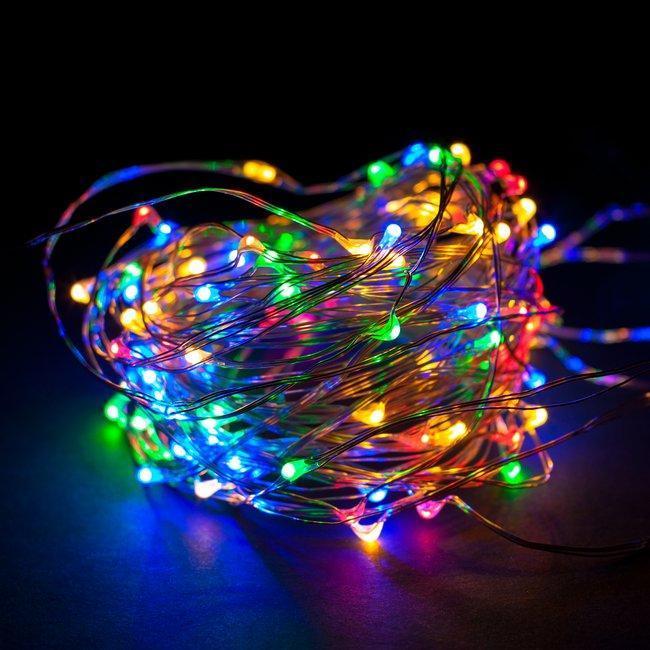 Гирлянда светодиодная нить Роса, Капли росы на проволоке 10 м, 100 LED на батарейках, мульти цвет