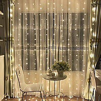 Гирлянда Водопад 3 х 2.5 м, 560 LED Соединяемая (Штора, Занавес, Curtain lights)