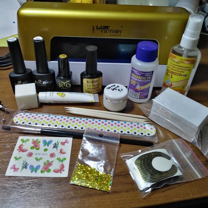 Стартовый набор для наращивания ногтей и покрытия гель-лаком Економ