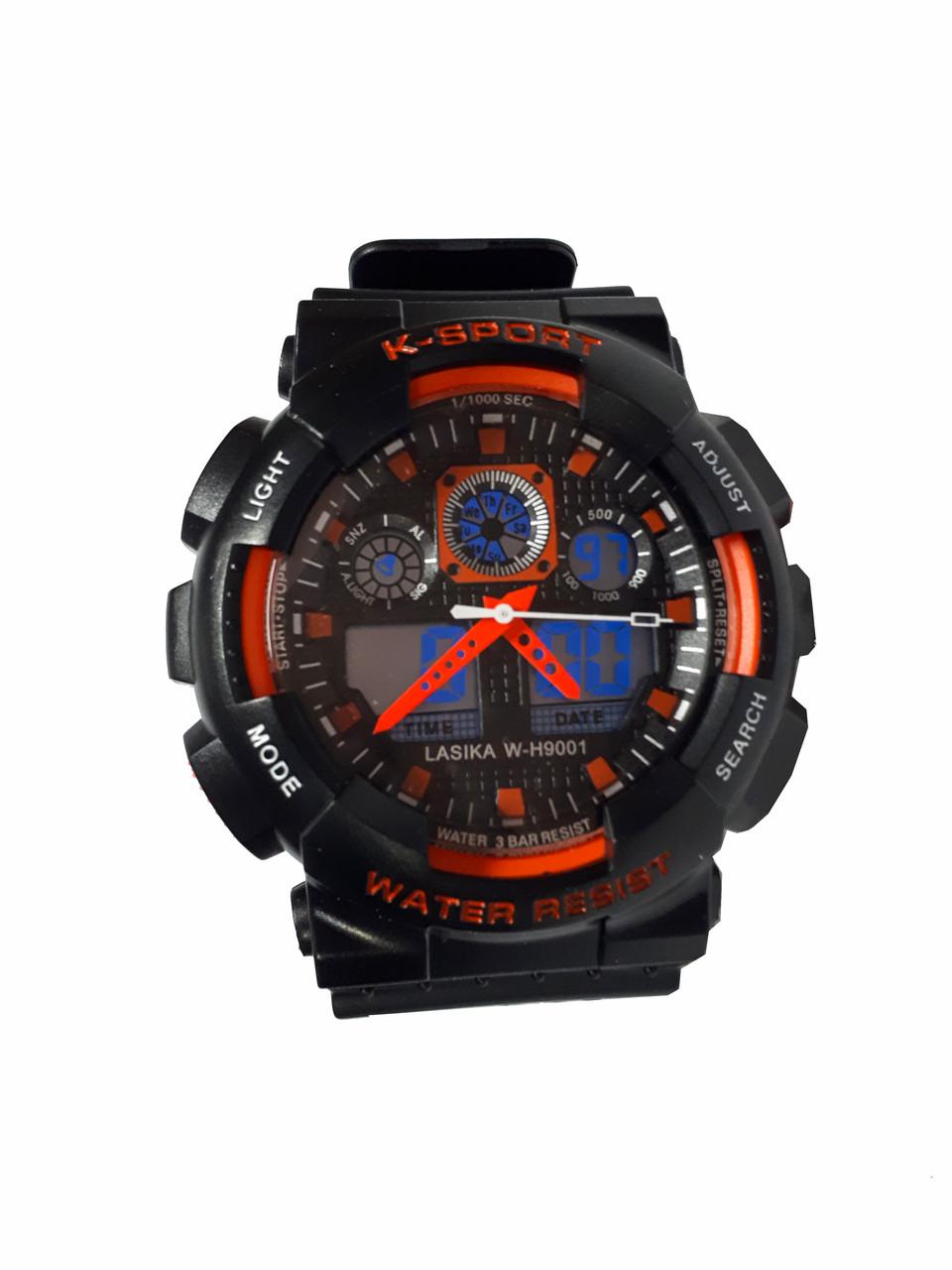 Часы K-Sport 898электронные + кварцевые в железной подарочной коробке. оранжевый