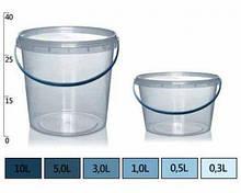 Ведерко прозрачное пищевое 2,3л. д12,9см / в.12,0см.