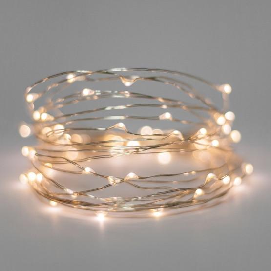 Гирлянда светодиодная нить Роса, Капли росы на проволоке 3 м, 30 LED на батарейках, теплый белый
