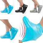 Многоразовые силиконовые бахилы для защиты обуви от дождя и грязи Waterproof silicone shoe cover S-M-L ОПТ, фото 3