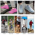 Многоразовые силиконовые бахилы для защиты обуви от дождя и грязи Waterproof silicone shoe cover S-M-L ОПТ, фото 10