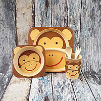 Набір дитячої посуди з бамбуку - Мавпа