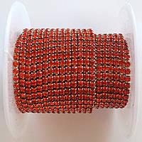 Стразовая цепь ss6 (2 мм). Оранжево-красный. Оправа - Розовое золото
