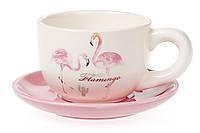 """Набор чайный 2 пр. 200 мл. """"Розовый фламинго""""с золотой надписью"""