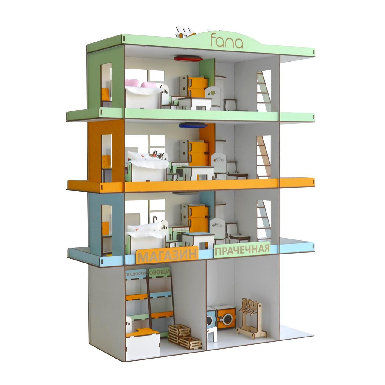 Кукольный домик Радужная Многоэтажка + мебель и свет в подарок