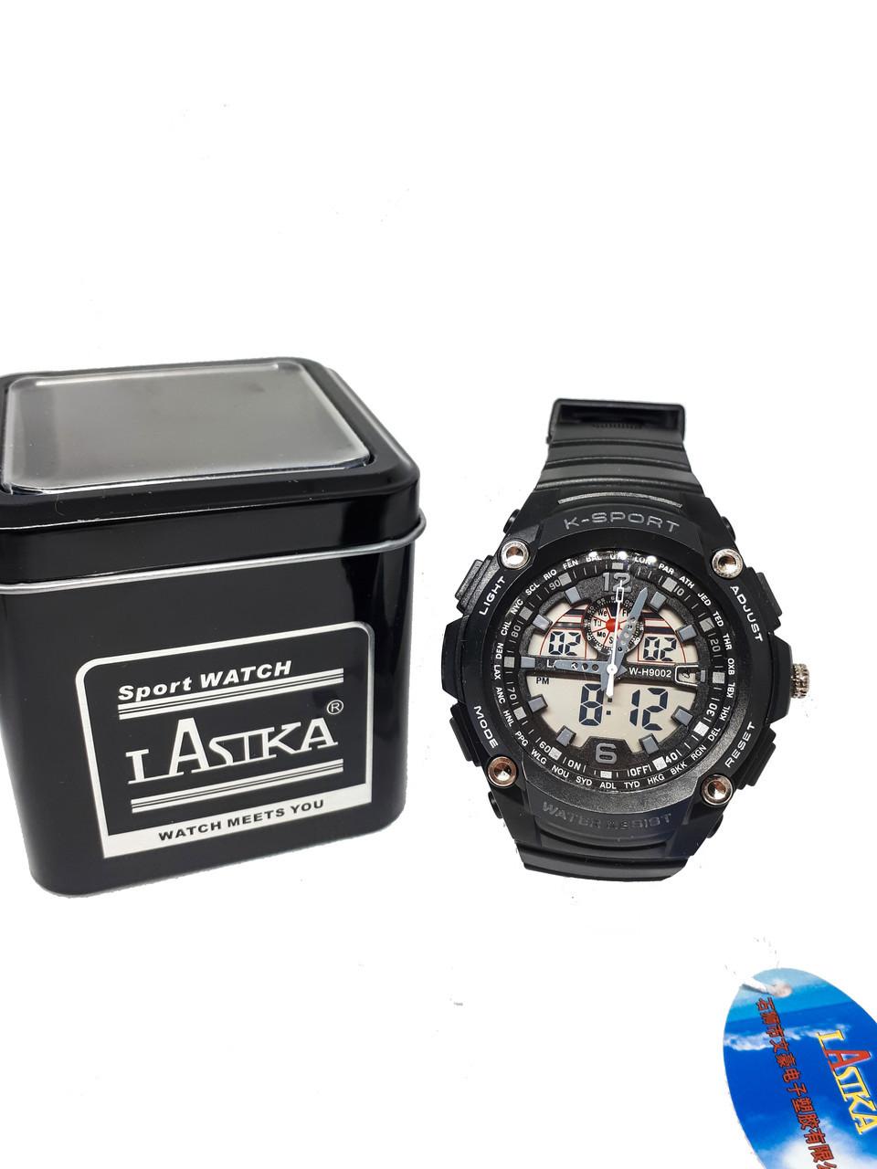 Часы K-Sport электронные + кварцевые в железной подарочной коробке. Серый опт