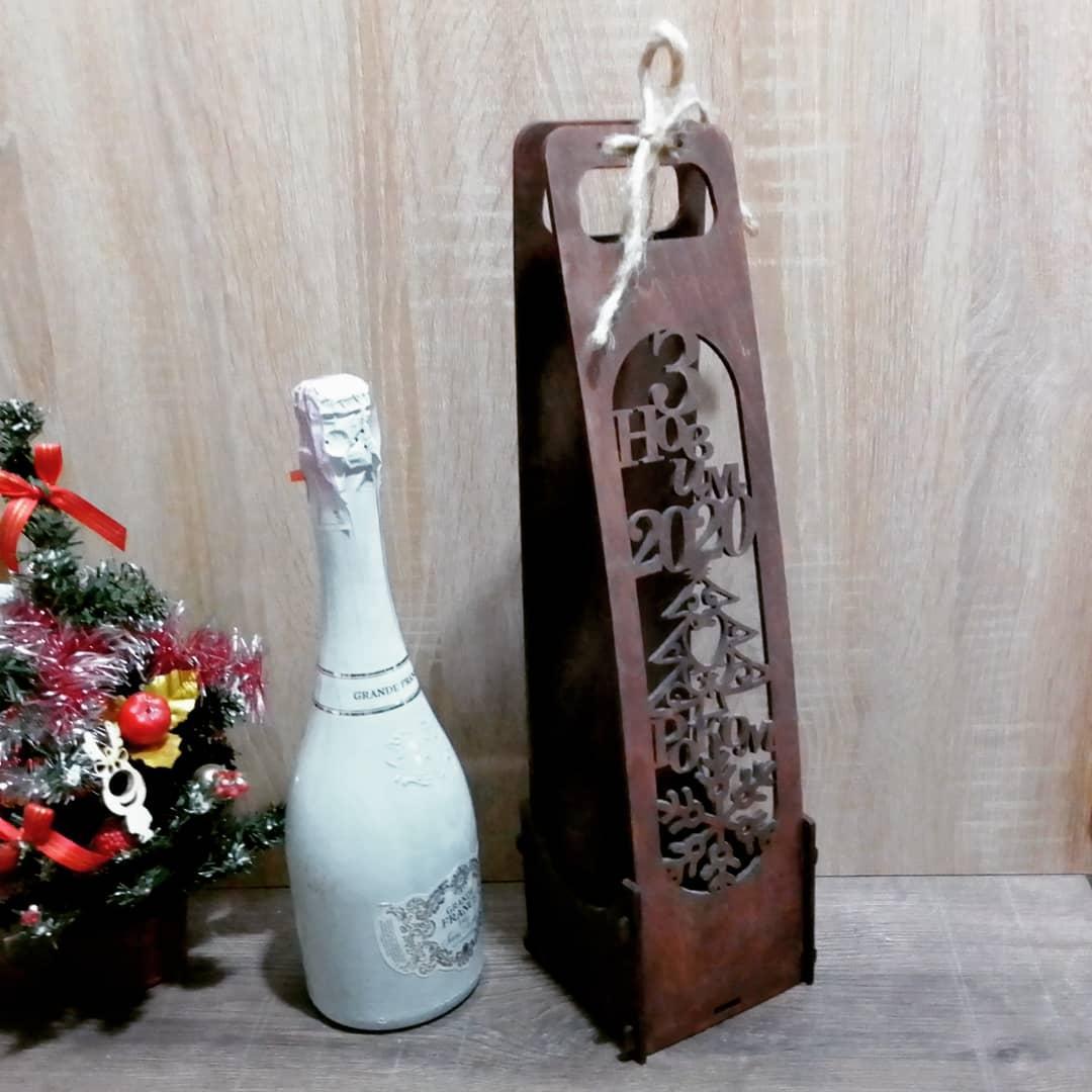 Коробка для шампанского покрытие маслом - коричневое дерево