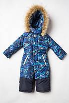 Модный совмесный теплый  зимний комбинезон для мальчика с овчиной  на рост с 86 см до  116 см, фото 3