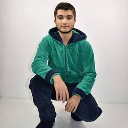 Мужской теплый домашний костюм махра-велсофт 42-48размер