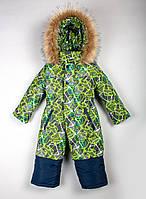 Яркий тёплый  зимний комбинезон-человечек для мальчика с овчиной  на рост с 86 см до  116 см