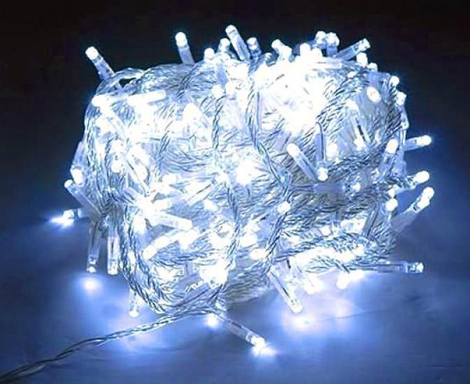 Новогодняя светодиодная гирлянда LED LIGHT 400 ламп 25 метров БЕЛАЯ на белом проводе