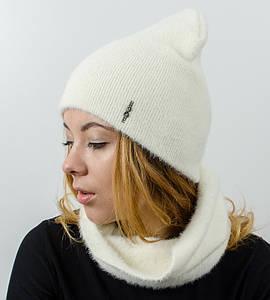 """Комплект женский, шапка+бафф, """"Травка"""", (Белый)"""