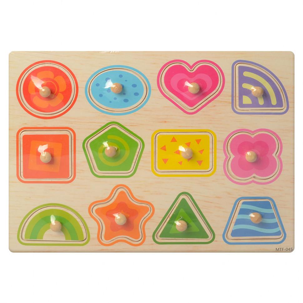 Рамка-вкладиш дерев'яна MD 1187 (Геометричні фігури), дитяча іграшка, подарунок для дитини