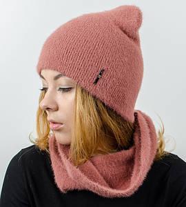 """Комплект женский, шапка+бафф, """"Травка"""", (Терракот)"""