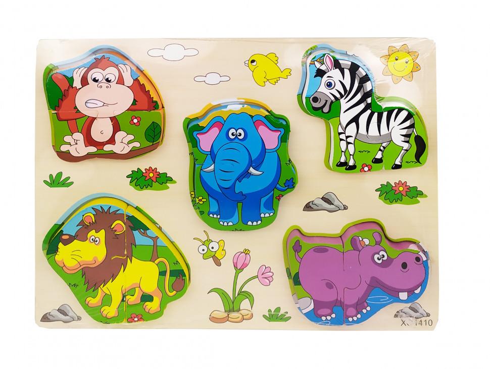 Деревянная игрушка Рамка-вкладыш MD 1213 (Животные Африки), детская игрушка, подарок для ребенка