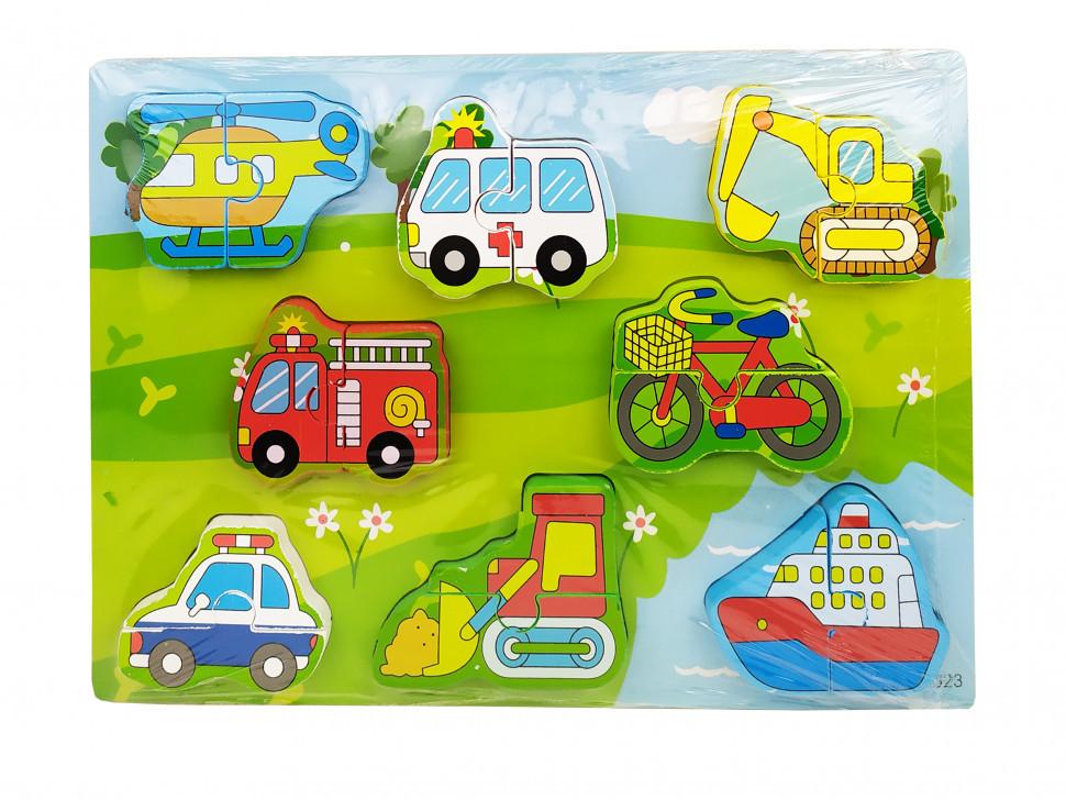 Деревянная игрушка Рамка-вкладыш MD 1213 (Транспорт), детская игрушка, подарок для ребенка