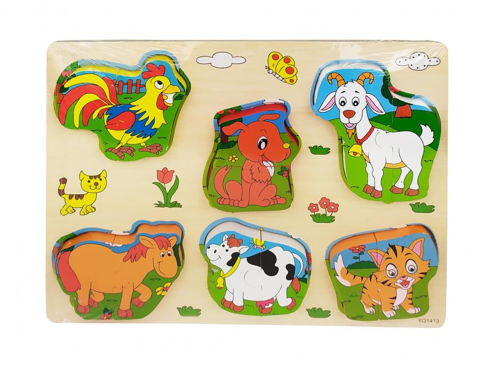 Деревянная игрушка Рамка-вкладыш MD 1213 (Домашние животные), детская игрушка, подарок для ребенка