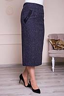 Классическая теплая юбка серая