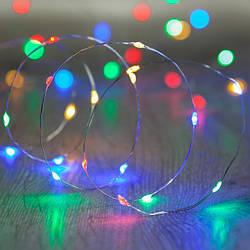 Гирлянда светодиодная нить Роса, Капли росы на проволоке 3 м, 30 LED на батарейках, мульти цвет