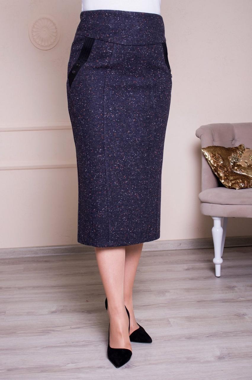 Классическая теплая юбка серая батал