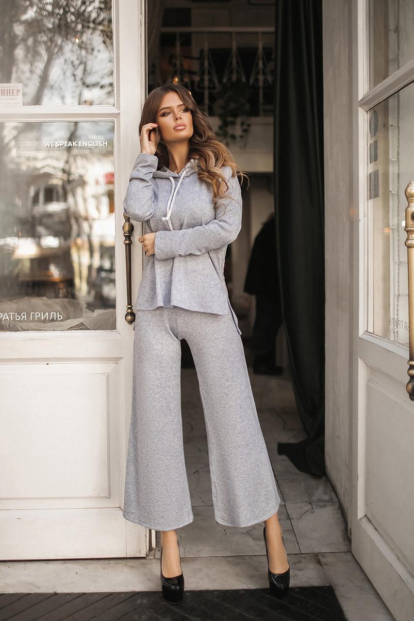 Стильный женский костюм кофта с капюшоном и брюки-кюлоты, норма и батал большие размеры
