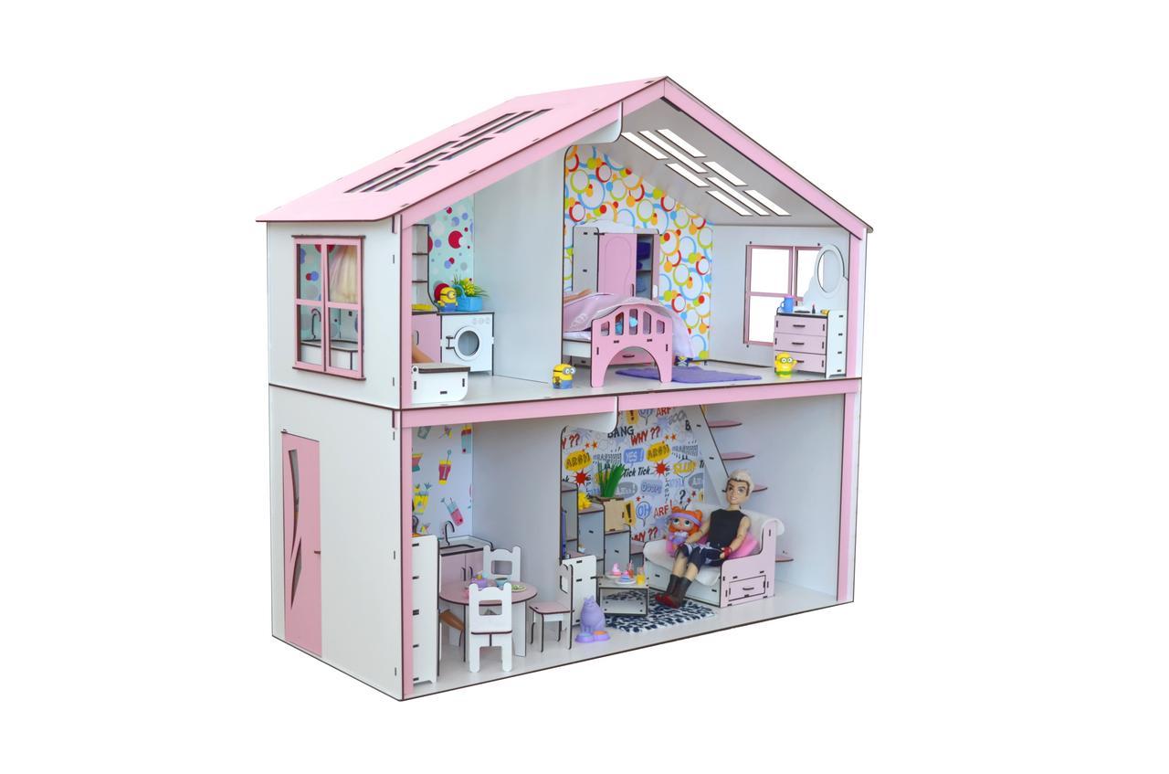 Кукольный домик Волшебный Коттедж Барби с мебелью, обоями и текстилем