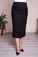 Прямая трикотажная юбка коричневая батал