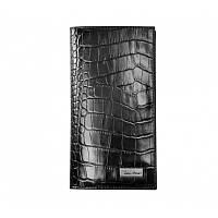 Кошелек мужской Issa Hara WB20 (21-00) black croco черный кожаный двойного сложения для карт купюр документов