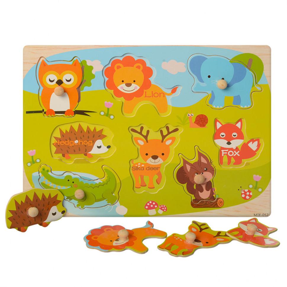 Рамка-вкладыш деревянная MD 1187 (Дикие), детская игрушка, подарок для ребенка