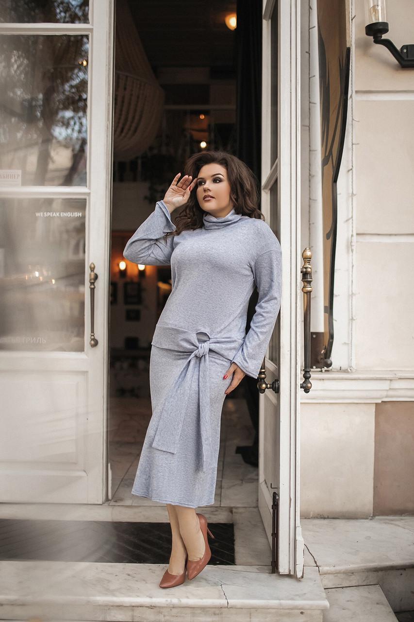 Елегантний жіночий костюм кофта з коміром хомутом і спідниця-міді, норма і батал великі розміри