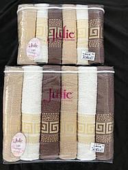 Лицевое махровое полотенце Грек шоколад Турция Джулия. 6 шт в уп. Размер 0,5х0,9 - 100% хлопок