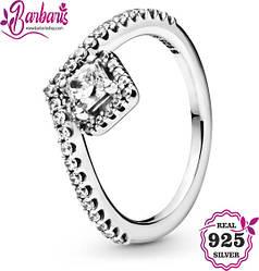 Серебряное кольцо-«птичка» со сверкающим квадратным камнем