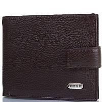 Мужской кожаный кошелек CANPELLINI (КАНПЕЛЛИНИ) SHI1045-14 коричневый на кнопке для купюр карт документов
