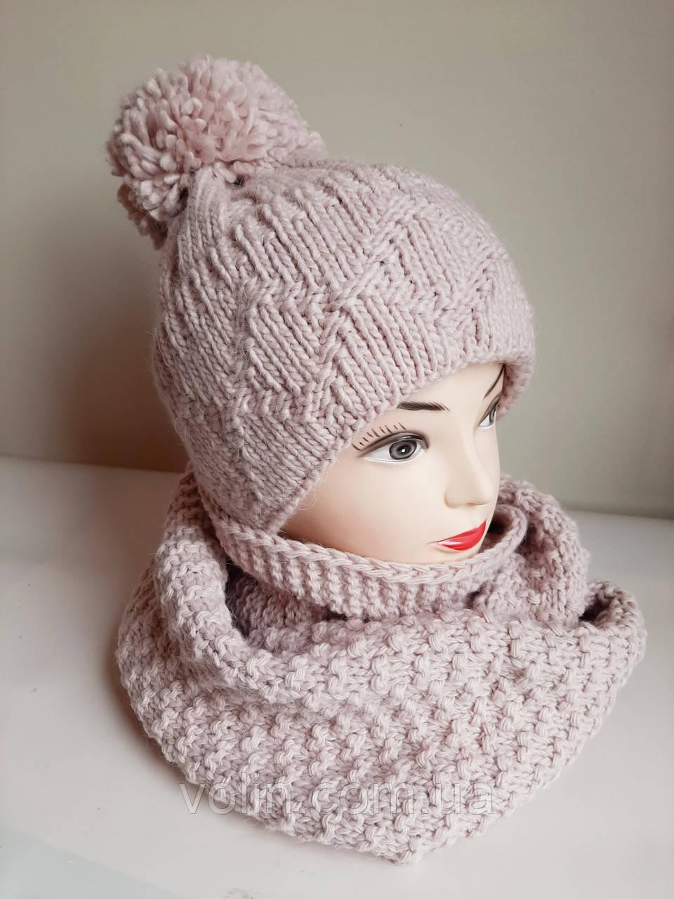 Зимние женские комплекты шапка и снуд Регина.