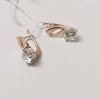 Серьги женские серебряные с золотом и цирконием Фаина, фото 1