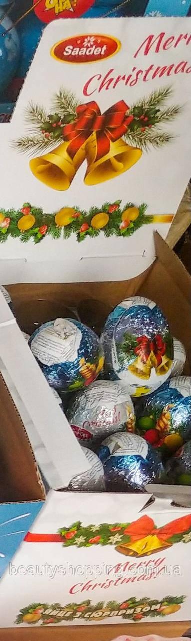 Шоколадные яйця с сюрпризом Merry Christmas 24шт 25гр