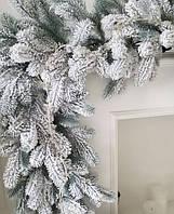 Гирлянда из искусственной хвои Коваливская Заснеженная для новогоднего декору