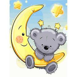 Картина по номерам VK228 Мишутка на луне, 30x40 см., Babylon