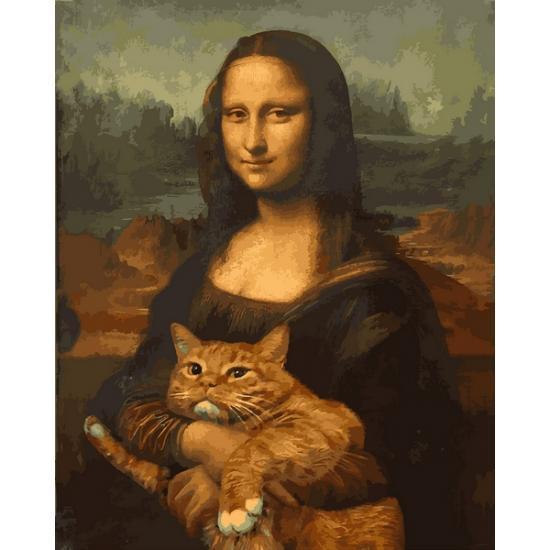 Картина по номерам Мона Лиза с котом, 40x50 см., Babylon