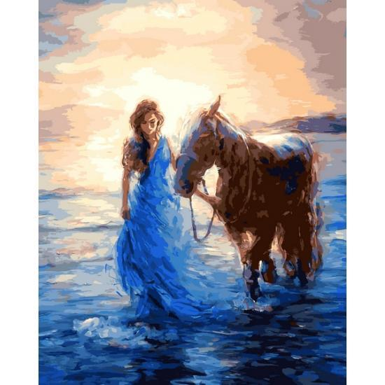Картина по номерам VP1207 Прогулка с лошадью, 40x50 см., Babylon