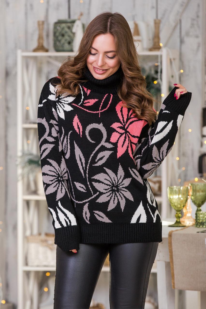 Шикарний теплий жіночий светр під горло розмір 44-52